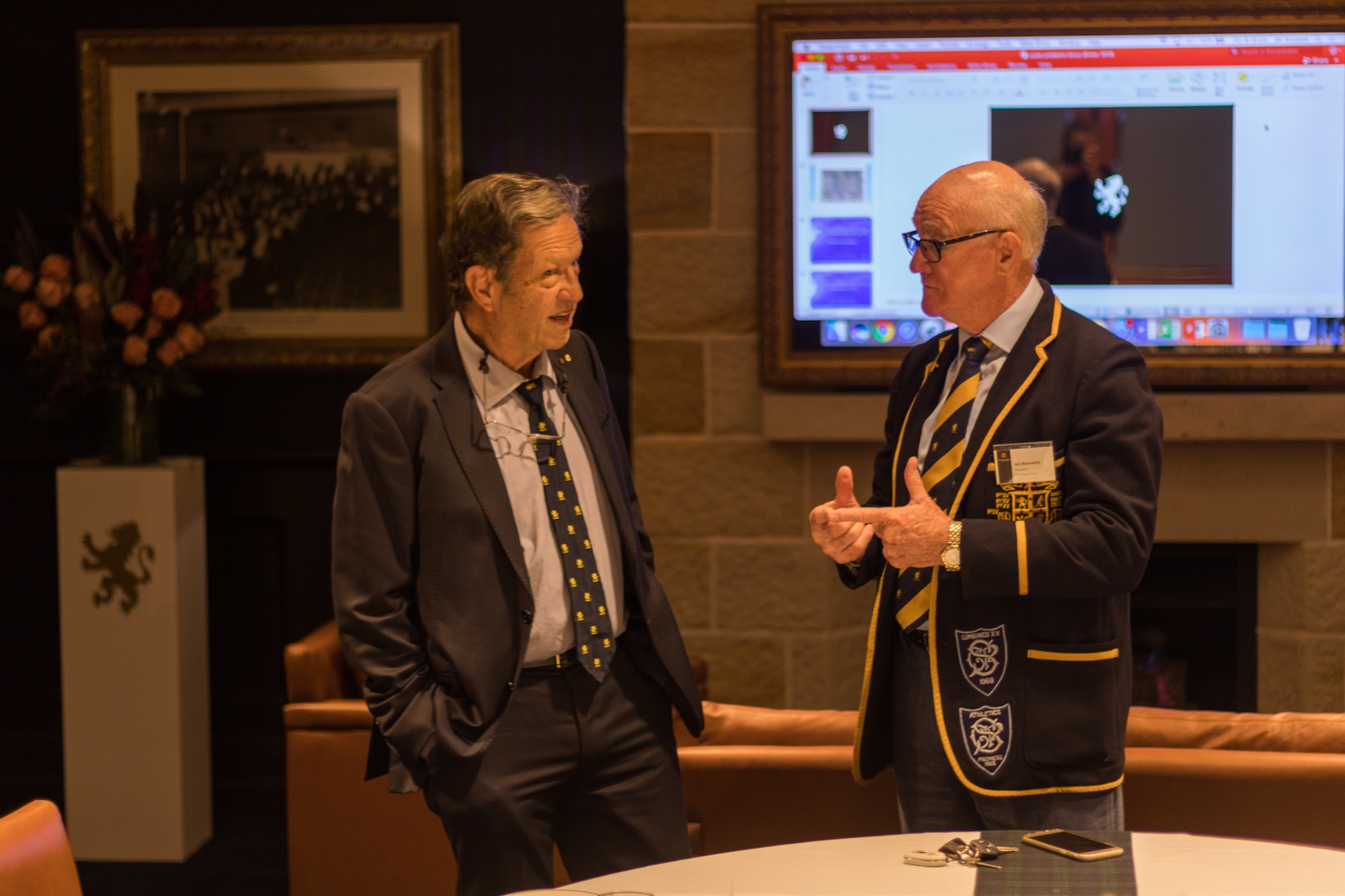 Professor Gordian Fulde AO and Ian Bonnette converse